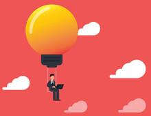 Businessman Sitting Work On A Swing Light Bulbs.Managing, Leadership, Innovation, Success, Ambition, Finance.vector.
