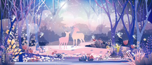 Obraz na plátne Fantasy cute little fairies flying and playing with reindeers family in magic forest at Christmas night,Vector illustration landscape of Winter wonderland