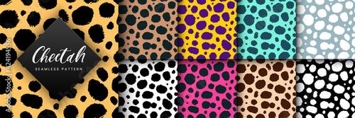Photo Vector Trendy cheetah skin seamless pattern set