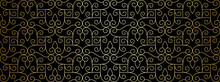 Seamless Lace Pattern With Golden Thin Curl Lines And Scrolls. Monochrome Abstract Floral Pattern. Decorative Lattice In Arabic Style. Trendy Background For Textile, Fabric And Wrapping.