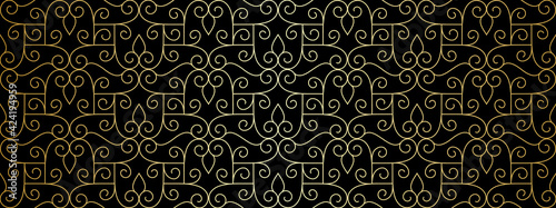 Foto Seamless lace pattern with golden thin curl lines and scrolls