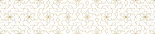 Pattern With Golden Lines, Stars And Polygons On White Background. Abstract Geometric Texture. Seamless Linear Design In Arabic Style. Vector Ornament For Textile, Fabric And Wrapping.