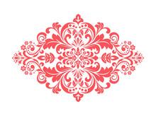 Damask Graphic Ornament. Floral Design Element. Pink Vector Pattern