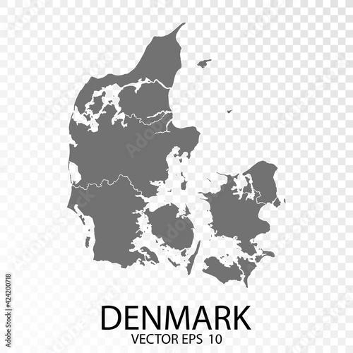 Fotografia Transparent - High Detailed Grey Map of Denmark. Vector Eps 10.