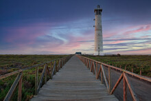Morro Jable Lighthouse In Fuerteventura, Canary Islands,