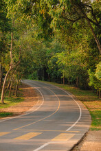 Winding Mountain Road In The Summer In The Forest In Khao Yai National Park In The Nakhonratchasima, Thailand.