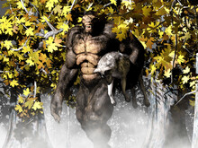 Illustration Of The Gugwe Variety Of Bigfoot Standing In Trees And Holding A Dead Wolf Under Its Arm