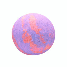 Single Colorful Bath Bomb, Isolated On The White Background With Clipping Path