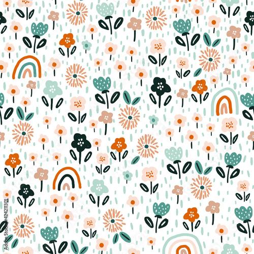 Seamless floral pattern with rainbows Tapéta, Fotótapéta