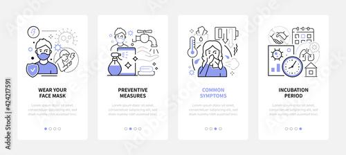 Obraz Coronavirus Disease - line design style web banners - fototapety do salonu