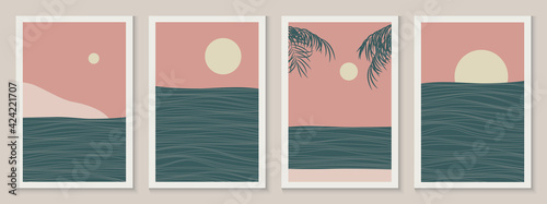 Set of Abstract sea landscape minimalist modern line art posters. Geometric contemporary aesthetic vertical backgrounds in asian japanese style with skyline, wave. Vector illustration