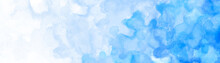 Pastel Light Blue Watercolor Painted Background, Gradient White And Blue Blotches And Blobs Of Paint On Watercolor Paper Texture Grain, Abstract Blue Painting