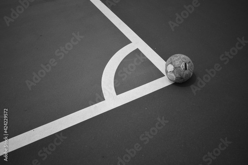 ball on conner black and white background monochrome picture