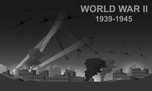 World War II 1939-1945 Black And White Vector Illustration. Night Battlefield Scene Monochrome Icon.