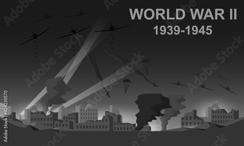 Obraz World War II 1939-1945 black and white vector illustration. Night battlefield scene monochrome icon. - fototapety do salonu