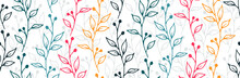 Berry Bush Sprouts Organic Vector Seamless Pattern. Ornate Floral Graphic Design. Meadow Plants Foliage And Bloom Wallpaper. Berry Bush Sprigs Sketch Repeating Background