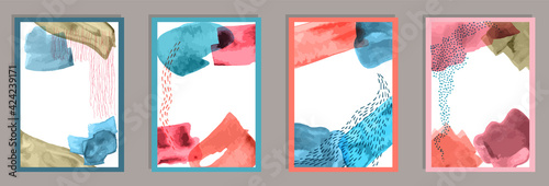Fototapeta Hand drawn modern canvas vector collection. obraz