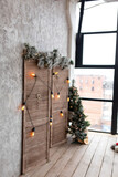 wooden white screen. the string of lights. the lights on the wall. background texture. interior