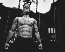 Classic Film Style Black And White Of Frankenstein's Monster Coming Alive In Frankenstein's Lab