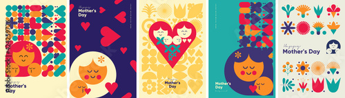 Obraz Mother's day. Set of vector illustrations. Abstract backgrounds, patterns, mother's day cards. Cover, poster, wallpaper. Minimalistic retro postcards. - fototapety do salonu