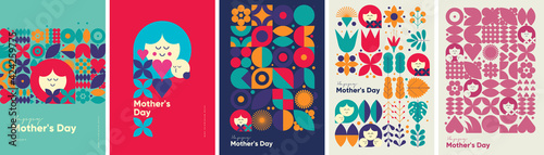 Fototapeta Mother's day. Set of vector illustrations. Abstract backgrounds, patterns, mother's day cards. Cover, poster, wallpaper. Minimalistic retro postcards. obraz