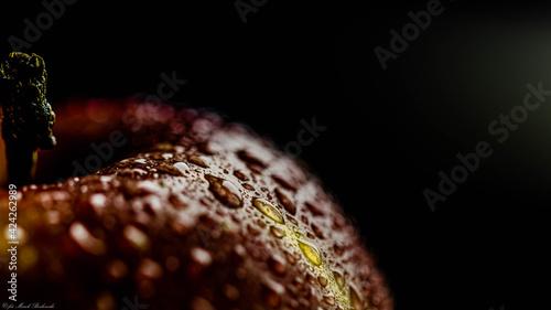 Fototapeta piękne czerwone jabłko w kroplach wody na czarnym tle obraz