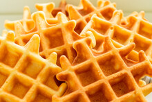 Viennese Waffles Close-up. Large Cage And Baking Texture - Culinary Background.