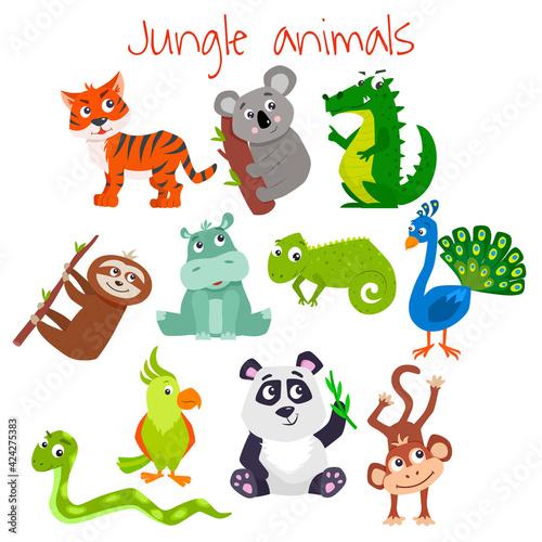 Fototapeta premium Set of cartoon cute jungle animals. Vector flat illustration.