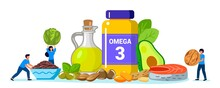 Omega 3 Fat Concept Tiny People Take Products And Vitamins With Polyunsaturated Fatty Acids Animal And Vegetable Sources Of Omega-3 Acids Natural Organic Nourishment Food Supplement And Health Care