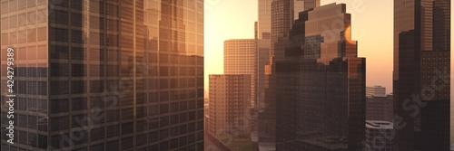 Fototapeta City at sunset, Skyscrapers at sunset, modern city at sunrise in the haze,, 3D rendering obraz