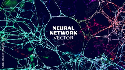 Obraz Neural network artificial intelligence vector background. Machine network neurons. Blockchain database. Neural interface. - fototapety do salonu