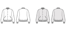 Varsity Bomber Jacket Technical Fashion Illustration With Rib Baseball Collar, Cuffs, Waistband, Jetted Pockets, Buttons Fastening. Flat Coat Template Front, Back White, Grey Color. Women Men Top CAD