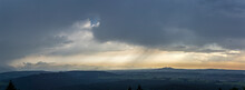 Travel Germany And Bavaria, View Over Bavarian Landscape While Weather Is Changing From Sun To Rain