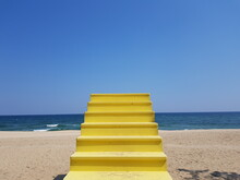 Stairway To The Sky In The Background Of The Sea