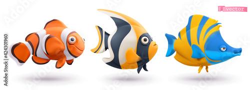 Obraz Funny tropical fish. Clownfish, angelfish, butterflyfish 3d vector cartoon icon set - fototapety do salonu