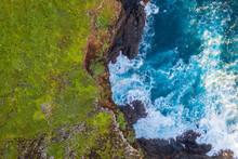 Aerial View Above Sea Shore, Ponta São Lourenço, Madeira Island, Portugal.