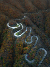 Aerial View Of A Scenic Road On The Hilltop Crossing The Mountains In Nikko Shi, Tochigi, Japan.