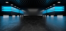 Sci Fy Neon Lamps In A Dark Tunnel. Reflections On The Floor And Walls. 3d Rendering Image.