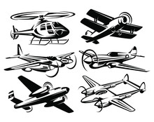 Set Silhouette Aircraft Illustration