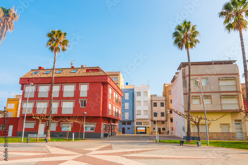 Torrenostra (Torreblanca), Castellon province, Valencian Community, Spain. Beautiful colorful architecture (house facades). Holiday town on the mediterranean coast (Costa del Azahar).