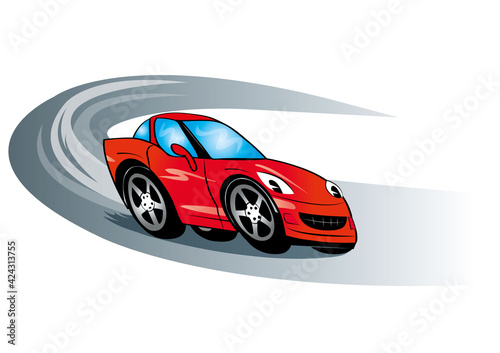 Czerwone auto wygra wyścig, wesoły samochodzik, prędkość, zwycięski, zawody, czerwona fura, sportowa bryka, dziecięce , dla dzieci