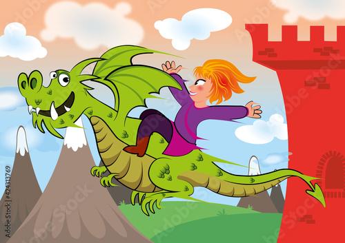 Księżniczka z bajki wylatuje zamku na wesołym smoku ku nowej przygodzie, tresowany stwór lata nad zamkiem, bajka o dobrym smoku i jego przyjaciółce