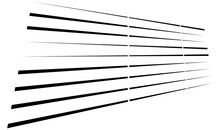 Dashed Dynamic Lines, Stripes. 3D Lines In Perspective Vanishing With Gaps
