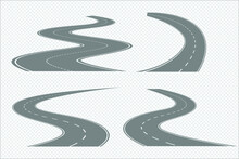 Set Winding Road Highways With Dividing Markings Isolated