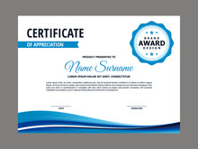 Abstract Smooth Certificate With Blue Wavy Element Design, Professional, Modern, Elegant Certificate With Fresh Flowing Mesh Gradient Background Template Vector
