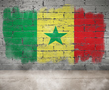 Senegal Flag Painted On Empty Wall Room With Smoke Single Flag