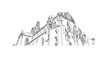 Building View With Landmark Of Pilsen Is The  City In The Czech Republic. Hand Drawn Sketch Illustration In Vector.