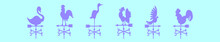 Set Of Weather Vane Cartoon Icon Design Template With Various Models. Vector Illustration Isolated On Blue Background