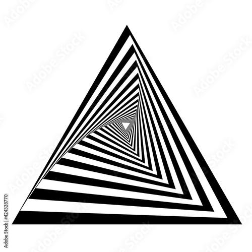 Triangle, triangular opart, optical art geometric illustration with rotation distort, deform effect Wall mural
