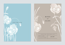 Floral Wedding Invitation Card Template Design, Monochrome Poppy Flowers With Leaves On Blue And Grey, Two Tones Color